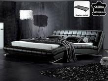 Beliani Nowoczesne skórzane łóżko 160x200 cm ze stelazem LILLE czarny