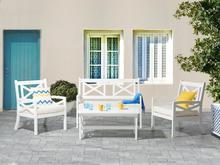 Meble ogrodowe białe - ogród - stół z 2 krzesłami i ławką - BALTIC