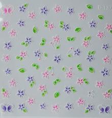 Naklejka biało-kolorowe fiolet+róż+zieleń 3D D-137