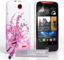 HTC yousave Accessories silikonowe Gel Cover z mini Stylus Pen na Desire 310 Floral Bee