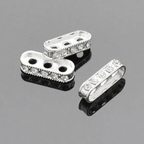 IMPORT prm334 Przekładka z cyrkoniami do biżuterii wielorzędowej 17x4x6mm 2szt.