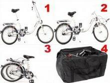 Shimano Aluminiowy rower składany SKŁADAK niska rama MIFA 3-BIEGI NEXUS biały + torba