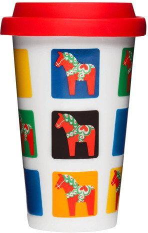Sagaform Porcelanowy Kubek termiczny z pokrywką 250 ml Cafe konie SF-5016401