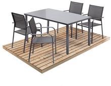 Stół metalowy Dallas 150 x 90 cm ze szklanym blatem szary