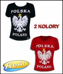 T-shirt Polska Duży Orzeł Damski czerwony Czarny