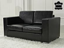 Beliani Skórzana sofa dwuosobowa czarna - kanapa - HELSINKI