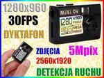 Opinie o MINI UKRYTA KAMERA SZPIEGOWSKA HD 5Mpix DYKTAFON DETEKCJA RUCHU Easy_ID:1MR027