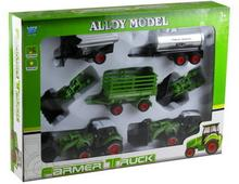 Lean Toys Zestaw farmera traktor + wymienne łyżki + przyczepy