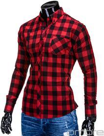 Ombre Clothing Koszula K282 - CZERWONO-CZARNA