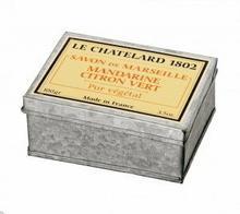 Le Chatelard 1802 Mydło w kostce marsylskie MANDARYNKA-LIMONKA 100g w puszce