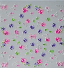 Ozdoby do paznocki biało-kolorowe fiolet+róż+zieleń 3D D-135