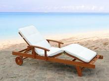 Beliani Ekskluzywna lezanka ogrodowa z drewna poduszka w kolorze bezowym TOSCANA