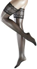 Falke Pończochy samonośne 41545 Pure Shine STU dla kobiet, kolor: czarny, rozmiar: one size (8.5-9)