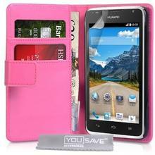 Huawei yousave Accessories Ascend Y530 (ze skóry PU, z kieszonkami na karty,, różowy (Hot Pink)