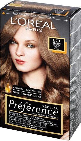 Loreal Recital Preference 7.1/L Islande popielaty blond