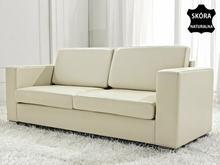 Beliani Skórzana sofa trzyosobowa bezowa - kanapa - HELSINKI