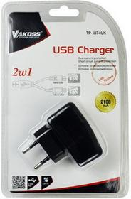 Vakoss Ładowarka sieciowa 2w1 micro/mini USB, 2,1A, AC 100240V TP-1874UK