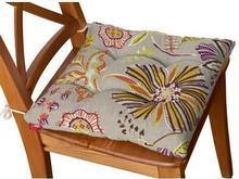 Dekoria Siedzisko na krzesło Jacek na krzesło, pomarańczowo-fioletowe kwiaty na lnianym tle
