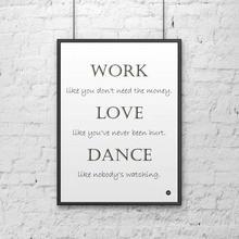 DekoSign Plakat dekoracyjny w ramie WORK LOVE DANCE biały DS-PL7-0