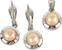 Tyfanit Srebrny komplet z naturalnymi perłami S211