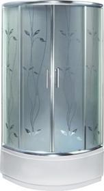Novoterm Kerra Dalia 90x90 profil chrom szkło mrożone z dekorem + brodzik