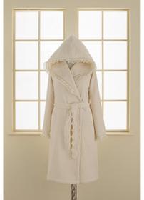 Soft Cotton LUNA damski pluszowy szlafrok z kapturem w pudełku L Śmietankowy 4437