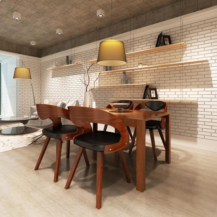 vidaXL Krzesła jadalniane, gięte, drewniana rama, brąz, skóra (x4)
