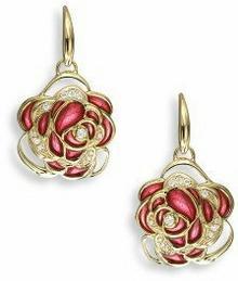 Nicole Barr (UK) Złote kolczyki z emalią i brylantami, złoto 18K