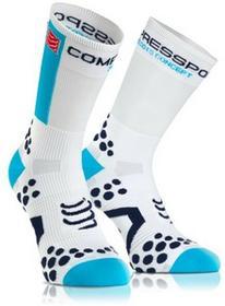 Compressport Skarpetki rowerowe Pro Racing V2.1 Biało-niebieskie