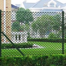 vidaxl Siatka ogrodzeniowa 1,5x25m zielona ze słupkami i osprzętem