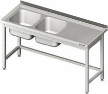 Stalgast Stół ze zlewem dwukomorowym (L) bez półki 1600x700x850 mm 980807160