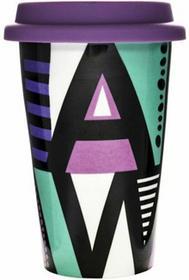 Sagaform Porcelanowy Kubek termiczny z pokrywką Cafe literki SF-5016545