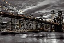 Nowy Jork nocą - Brooklyn Bridge - Plakat