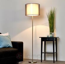 Lampenwelt Przepiękna lampa stojąca Nica z szarym abażurem