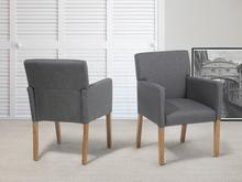 Beliani Krzeslo do jadalni, kuchni szare - fotel tapicerowany - ROCKEFELLER brazowy
