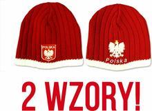 Czapka zimowa Polska 2 wzory grube CZERWONE