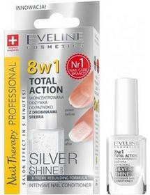 Eveline 8in1 Total Action Silver Shine Skoncentrowana odżywka do paznokci z drobinkami srebra 12 ml