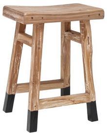 Hk Living Stołek z drewna tekowego czarny HAP6149
