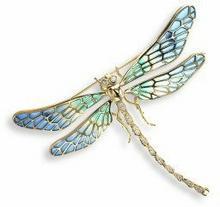 Nicole Barr (UK) Złota broszka - niebieska ważka z brylantami, złoto 18K