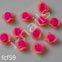 Ceramiczne Ozdoby do paznocki 3D róże podwójnie kolorowe fcf59 (4szt.) różowo-łososiowe