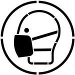 SZABLONERIA Szablon do malowania Znak Nakaz stosowania maski przeciwpyłowej - 15x15 cm