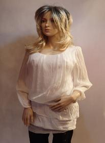 MaximoModa Elegancka bluzka przedłużana biała XL BL0002B