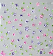Ozdoby do paznocki biało-kolorowe fiolet+róż+zieleń 3D D-139