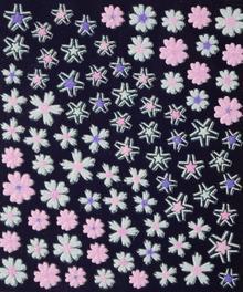 Ozdoby do paznocki biało-kolorowe fiolet+róż+biel 3D DA05-03