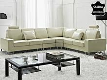 Beliani Stylowa sofa Kanapa z bezowej skóry naturalnej naroznik STOCKHOLM bezowy