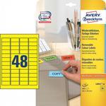 Avery Zweckform Etykiety A4 usuwalne żółte 45.7mm x 21.2mm 20 arkuszy Zweckform L6041-20