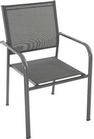 Fotel metalowy Dallas z podłokietnikami szary