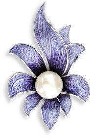 Nicole Barr (UK) Srebrna broszka - fioletowy kwiat z perłą, srebro 925