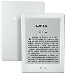 Amazon Czytnik Kindle z ekranem dotykowym o przekątnej 15,2 cm (6 cali), bez odblasków, Wi-Fi i ofertą specjalną, kolor biały 53-004613