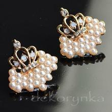 Kolczyki RETRO Vintage KORONA perły cyrkonie